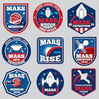 Mars-missie ruimte emblemen. astronaut reisbadges