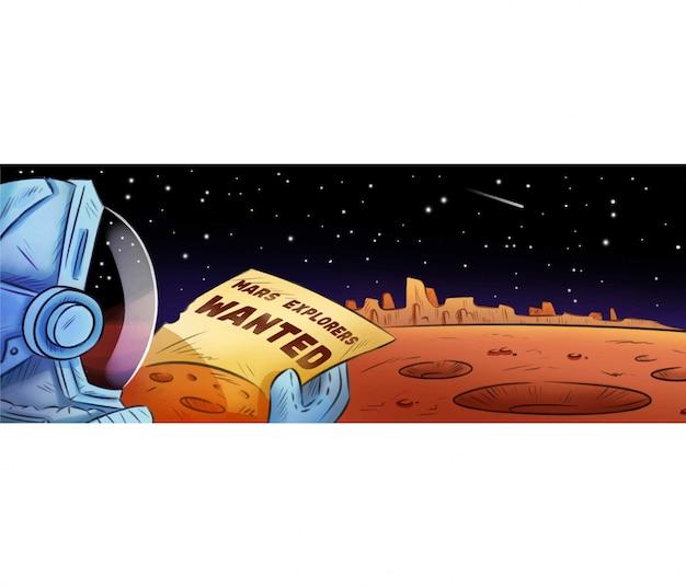 Mars-ontdekkingsreizigers wilden een hand getekende cartoonbanner