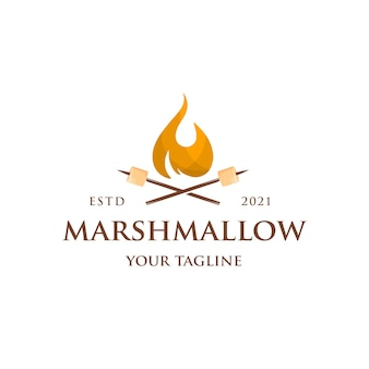 Marshmallow bonfire logo sjabloon