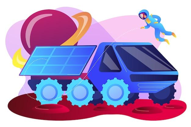 Marsrover onderzoekt territorium en doet wetenschappelijk onderzoek en astronaut. marsrover, nieuwe planeetverkenning, revolutie-technologieconcept. heldere levendige violet geïsoleerde illustratie
