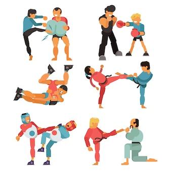 Martial art mensen karakter vechter opleiding karate sport oefening en sterke man vechten macht gevecht praktijk illustratie set geïsoleerd op een witte achtergrond