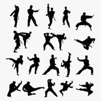 Martial art silhouettes