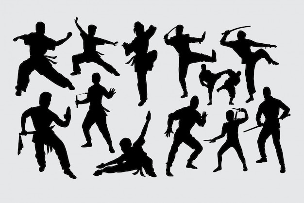 Martial kunst kungfu ninja silhouet