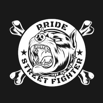Martial street fighter-ontwerp kan worden gebruikt voor de mascotte van het posterlogo en meer