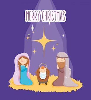 Mary joseph en baby kribbe geboorte, vrolijk kerstfeest