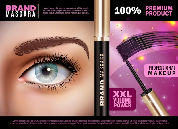 Mascara applicator ontwerpsamenstelling Gratis Vector