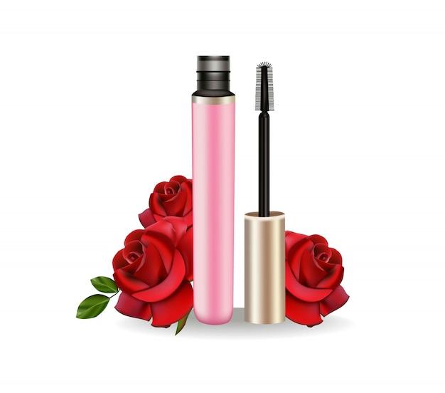 Mascara-cosmetica realistische tube met penseel. 3d pakket.
