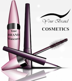 Mascara en eyeliner cosmetica pakketproduct. vector realistische producten. advertentiesjabloon achtergronden