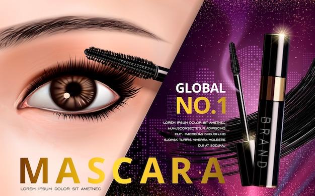 Mascara-ontwerpkaart met heldere ogen en wimpers