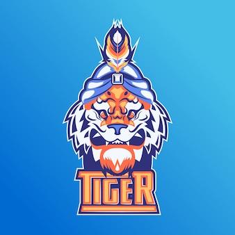 Mascot-logo met tijger