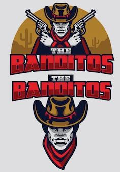 Mascot van het wilde westen de bandiet