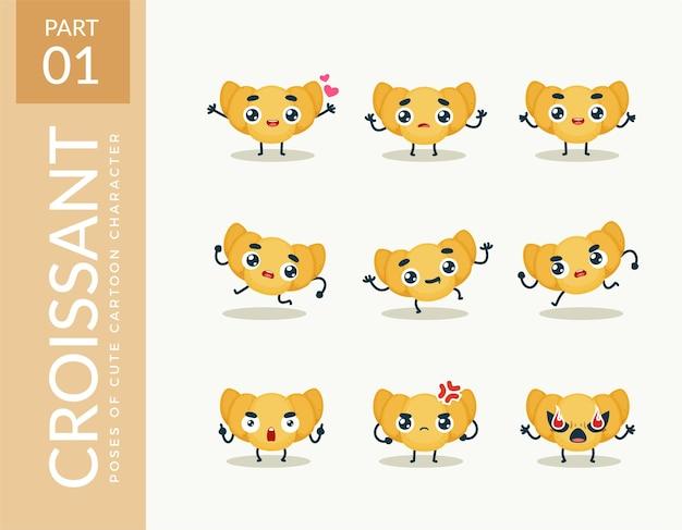 Mascotte afbeeldingen van de croissant. instellen.