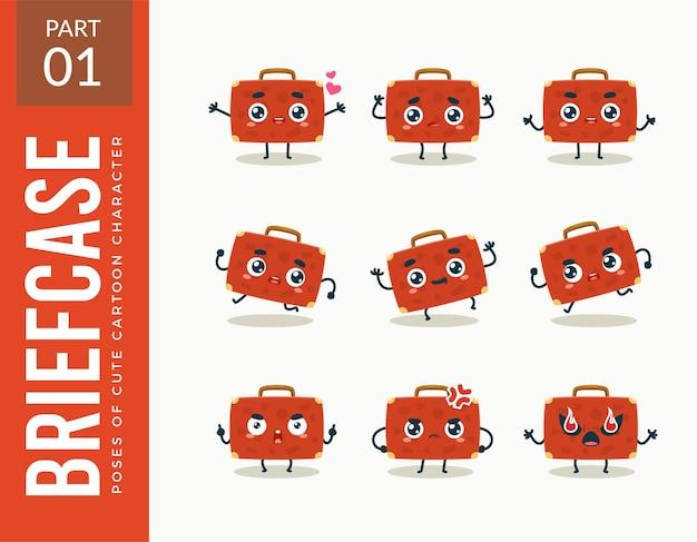 Mascotte afbeeldingen van de rode aktetas. instellen.