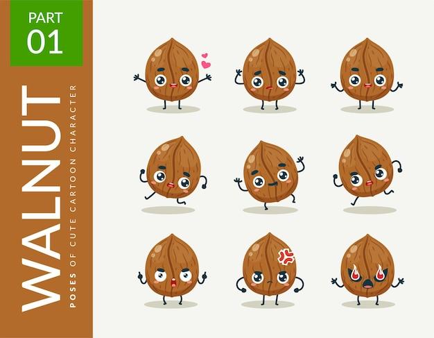 Mascotte afbeeldingen van de walnoot. instellen.