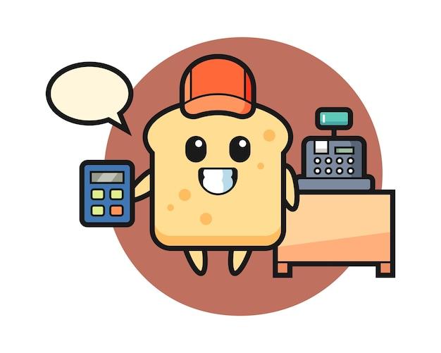 Mascotte broodkarakter als kassamedewerker