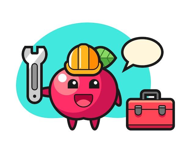 Mascotte cartoon van appel als monteur