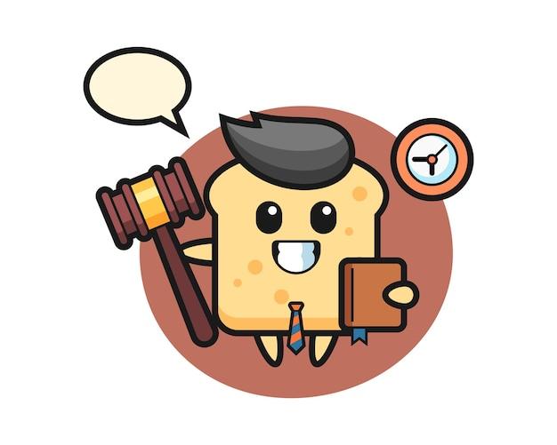 Mascotte cartoon van brood als rechter