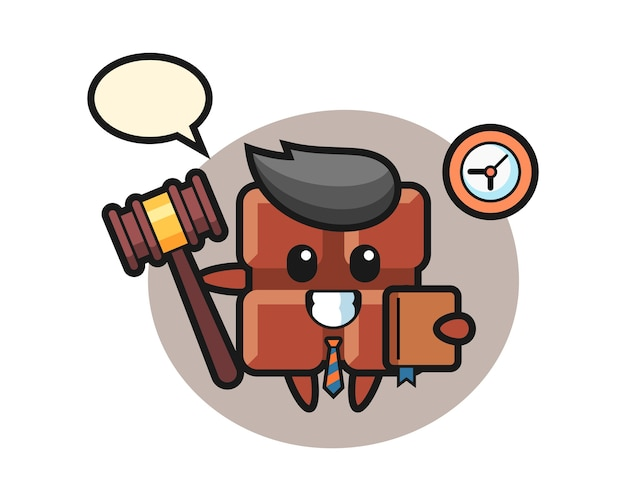 Mascotte cartoon van chocoladereep als rechter, schattige kawaiistijl.