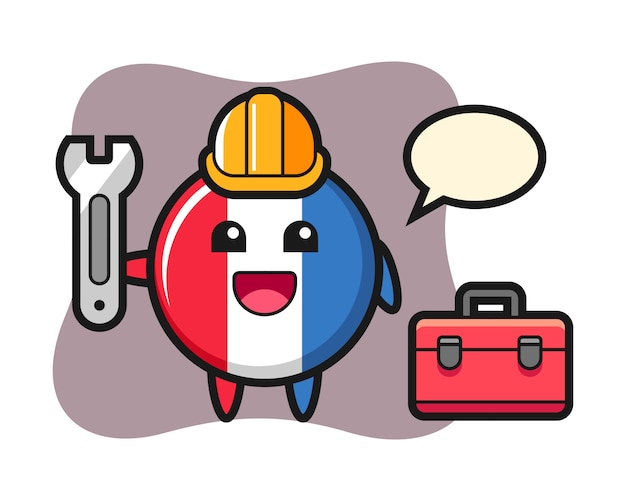 Mascotte cartoon van frankrijk vlagbadge als monteur