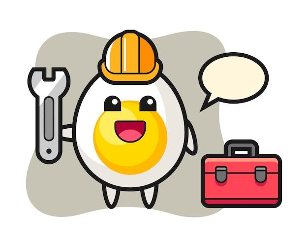 Mascotte cartoon van gekookt ei als monteur