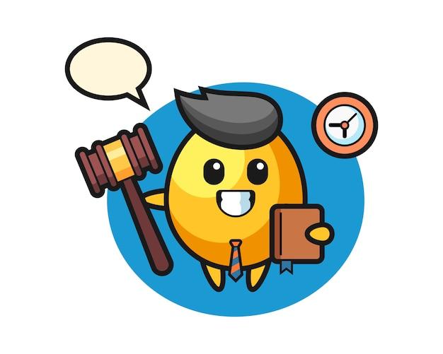 Mascotte cartoon van gouden ei als rechter, schattig stijlontwerp