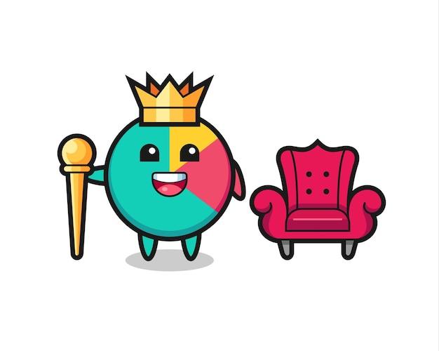 Mascotte cartoon van grafiek als een koning, schattig stijlontwerp voor t-shirt, sticker, logo-element