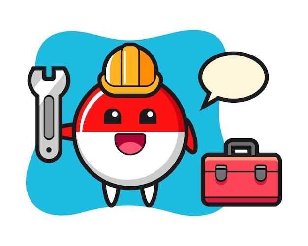 Mascotte cartoon van indonesië vlag badge als monteur