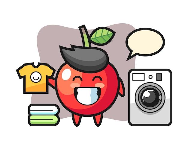 Mascotte cartoon van kers met wasmachine, schattig stijlontwerp