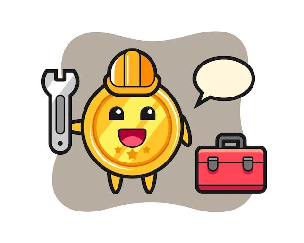 Mascotte cartoon van medaille als monteur
