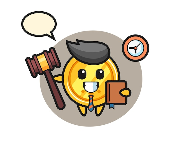 Mascotte cartoon van medaille als rechter