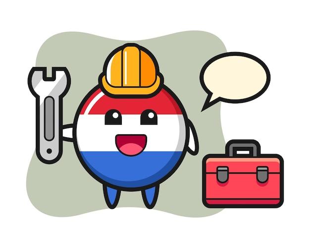 Mascotte cartoon van nederland vlag badge als monteur