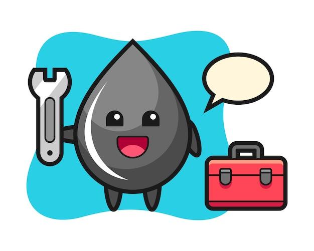 Mascotte cartoon van oliedruppel als monteur