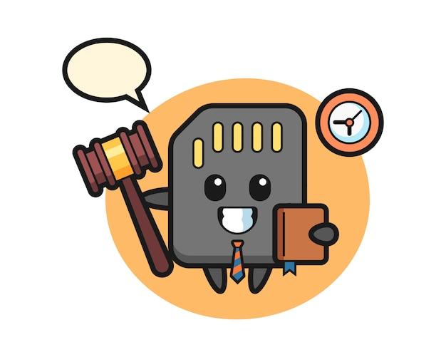 Mascotte cartoon van sd-kaart als rechter, schattig stijlontwerp voor t-shirt