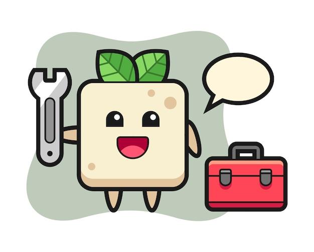 Mascotte cartoon van tofu als een mechanisch, schattig stijlontwerp voor een t-shirt