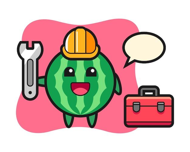 Mascotte cartoon van watermeloen als monteur