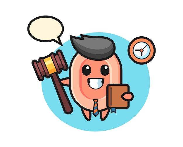 Mascotte cartoon van zeep als rechter, leuke stijl voor t-shirt, sticker, logo-element