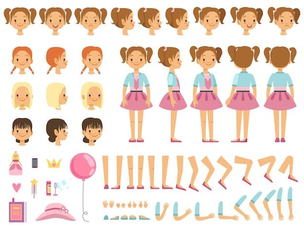 Mascotte creatie kit van klein meisje en een aantal kinderen speelgoed. vector constructor met leuke emoties en