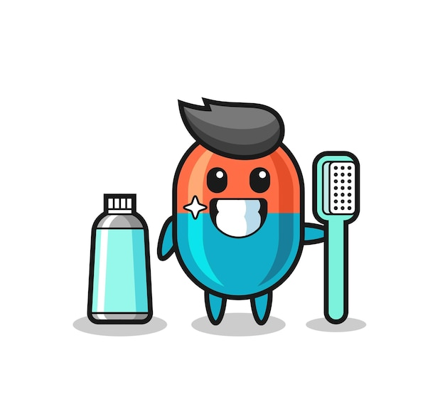Mascotte illustratie van capsule met een tandenborstel, schattig stijlontwerp voor t-shirt, sticker, logo-element