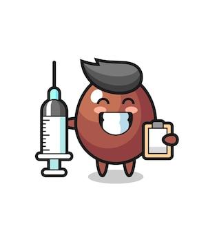 Mascotte illustratie van chocolade-ei als dokter, schattig design