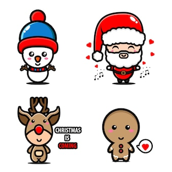 Mascotte illustratie van de kerstman, sneeuwman, rendier en koekje instellen