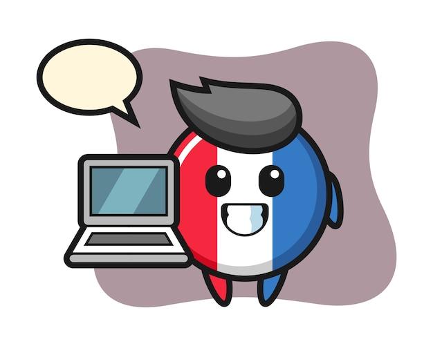Mascotte illustratie van de vlag van frankrijk badge met een laptop