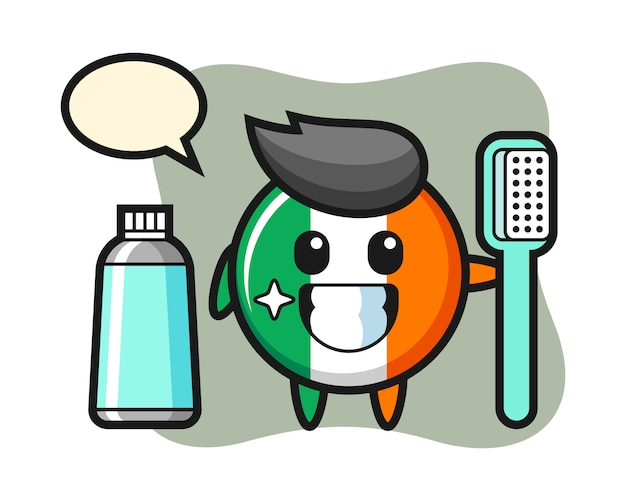 Mascotte illustratie van de vlag van ierland badge met een tandenborstel
