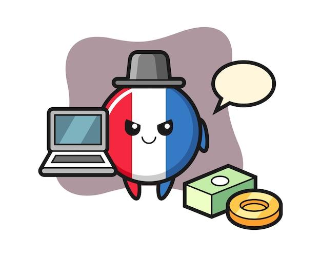 Mascotte illustratie van frankrijk vlagbadge als hacker