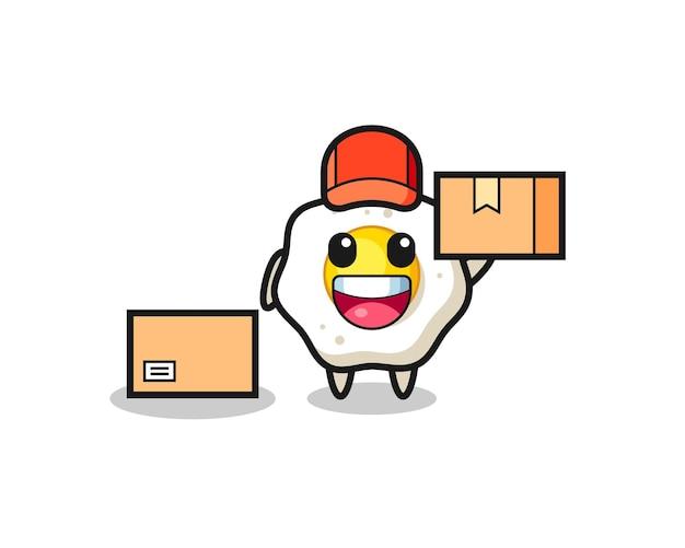 Mascotte illustratie van gebakken ei als koerier, schattig stijlontwerp voor t-shirt, sticker, logo-element