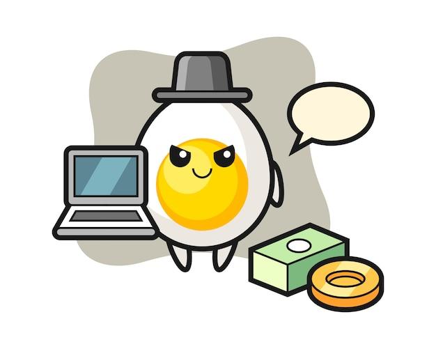 Mascotte illustratie van gekookt ei als een hacker