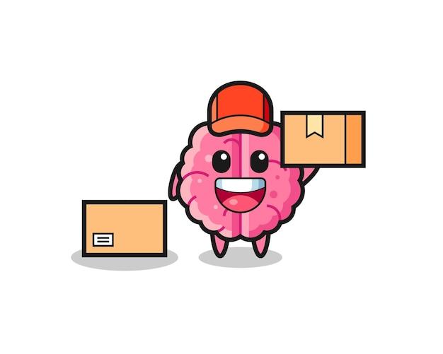 Mascotte illustratie van hersenen als koerier, schattig stijlontwerp voor t-shirt, sticker, logo-element