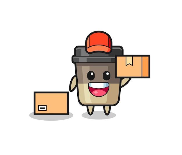 Mascotte illustratie van koffiekopje als koerier, schattig stijlontwerp voor t-shirt, sticker, logo-element