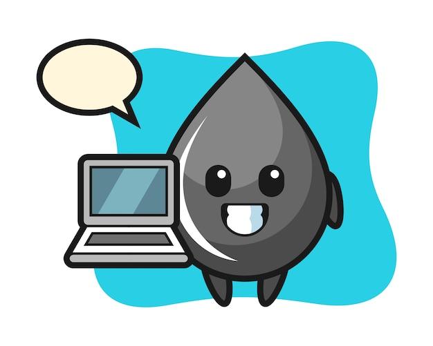 Mascotte illustratie van oliedruppel met een laptop