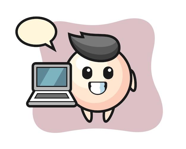 Mascotte illustratie van parel met een laptop