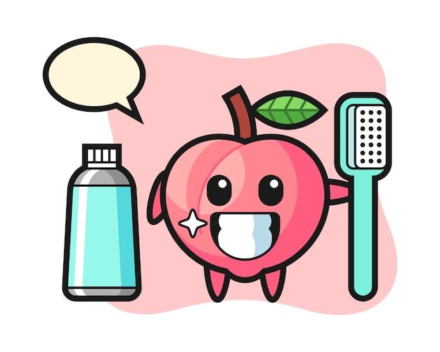 Mascotte illustratie van perzik met een tandenborstel, schattig stijlontwerp voor t-shirt